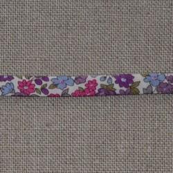 Biais fantaisie repli double fleuri Frou-Frou 9mm tons violets