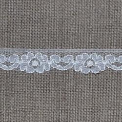 Dentelle polyester fleurs et coeurs blanche - marque Frou-Frou