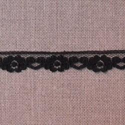 Dentelle polyester fleurs et coeurs noire - marque Frou-Frou