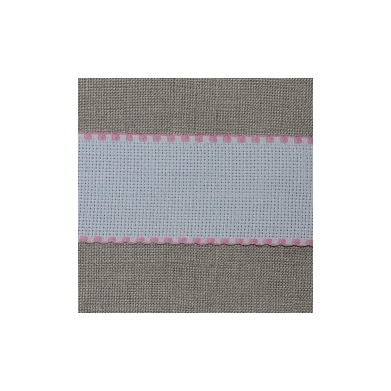 Galon aïda blanche 6 points/cm largeur 5,5cm bords rose
