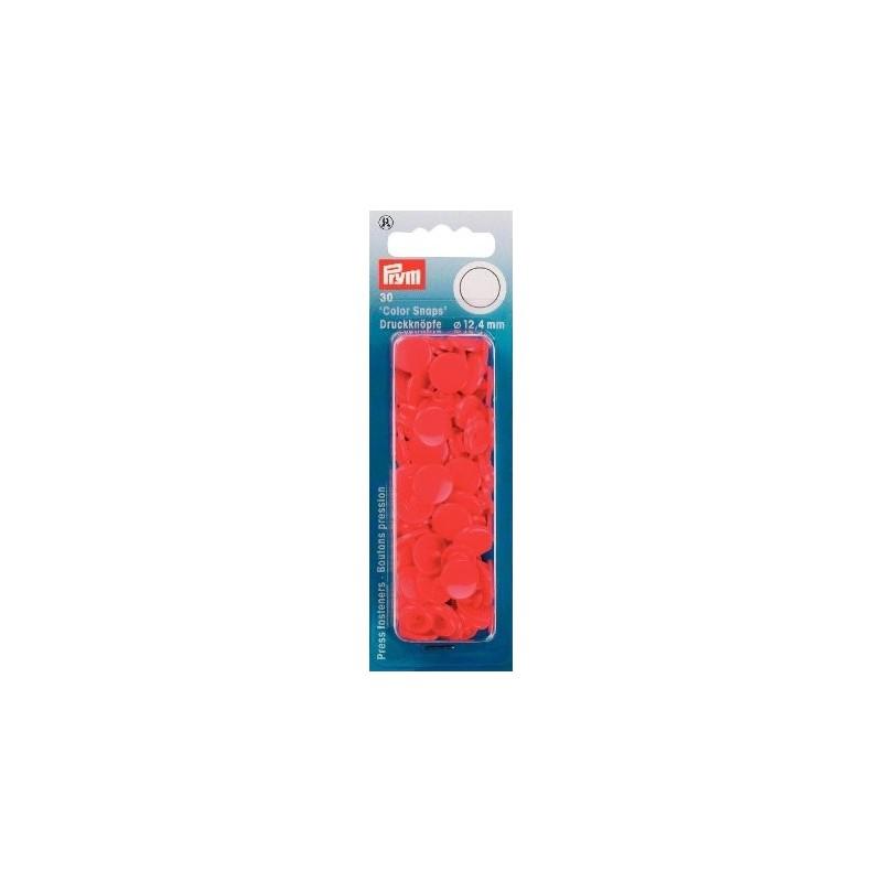 Boutons pression résine - rond - rouge - Color Snaps Prym