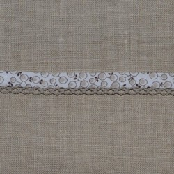 Biais fantaisie repli double bord dentelle beige Frou-Frou 12mm