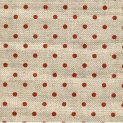 Lin Zweigart Belfast 12,6fils/cm - 50x70cm - naturel à petits points rouge bordeaux
