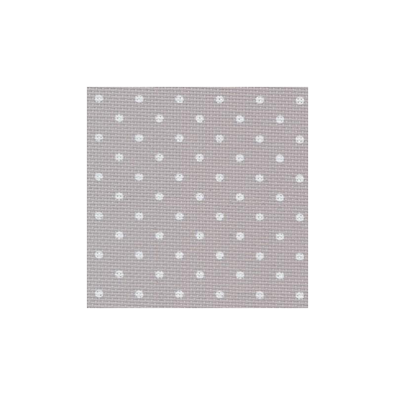 Aïda Zweigart 8pts/cm - largeur 110cm - gris à petits points blancs