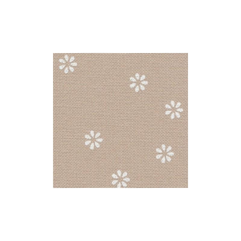 Toile Murano Zweigart 12,6fils/cm - laize 140 cm - lin clair à fleurs blanches