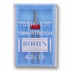 Aiguille double Bohin pour machine à coudre 130/705 Stretch 75/4,0