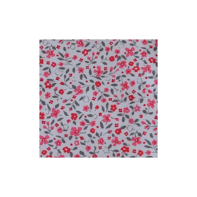 Feuille de tissu thermocollant  - format A4 - fleurs rouges