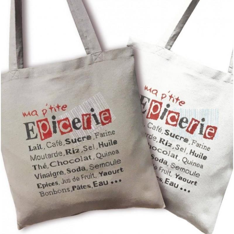 Sac Ma p'tite épicerie - Lilipoints - Pack complet Sac Aïda 8 pts/cm blanc