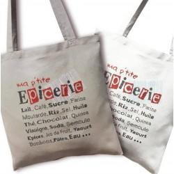 Sac Ma p'tite épicerie - Lilipoints - Semi-kit Diagramme + Sac Aïda 8 pts/cm gris