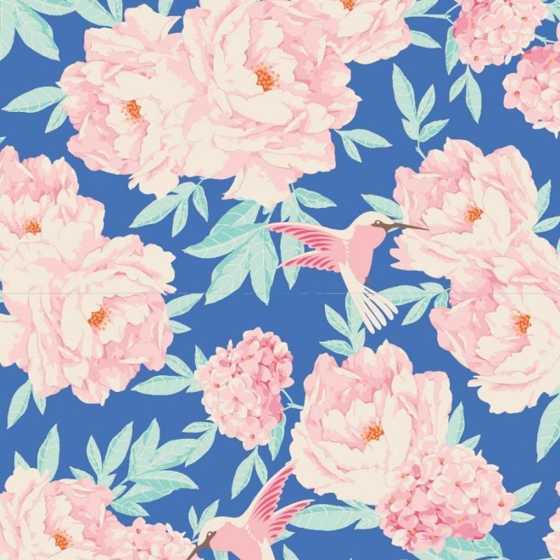 Hummingbird Blue - coupon 50x55cm - tissu Tilda