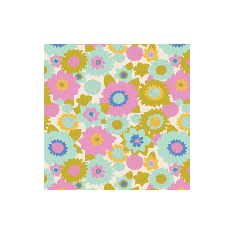 Boogie Flower Dove White - coupon 50x110cm - tissu Tilda
