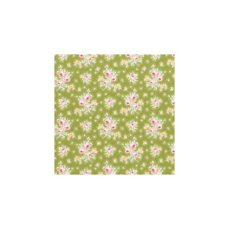 First Kiss Green - coupon 50x110cm - tissu Tilda