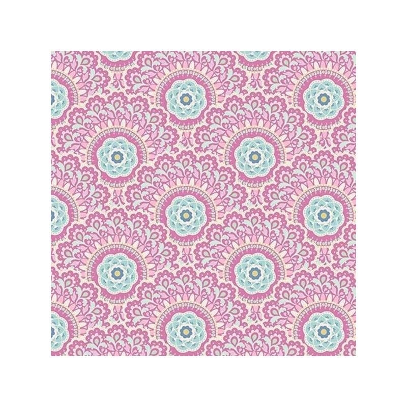 Cabbage Flower Purple - coupon 50x110cm - tissu Tilda