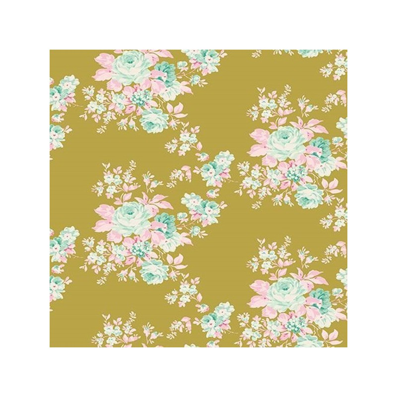 Autumn Rose Green - coupon 50x110cm - tissu Tilda