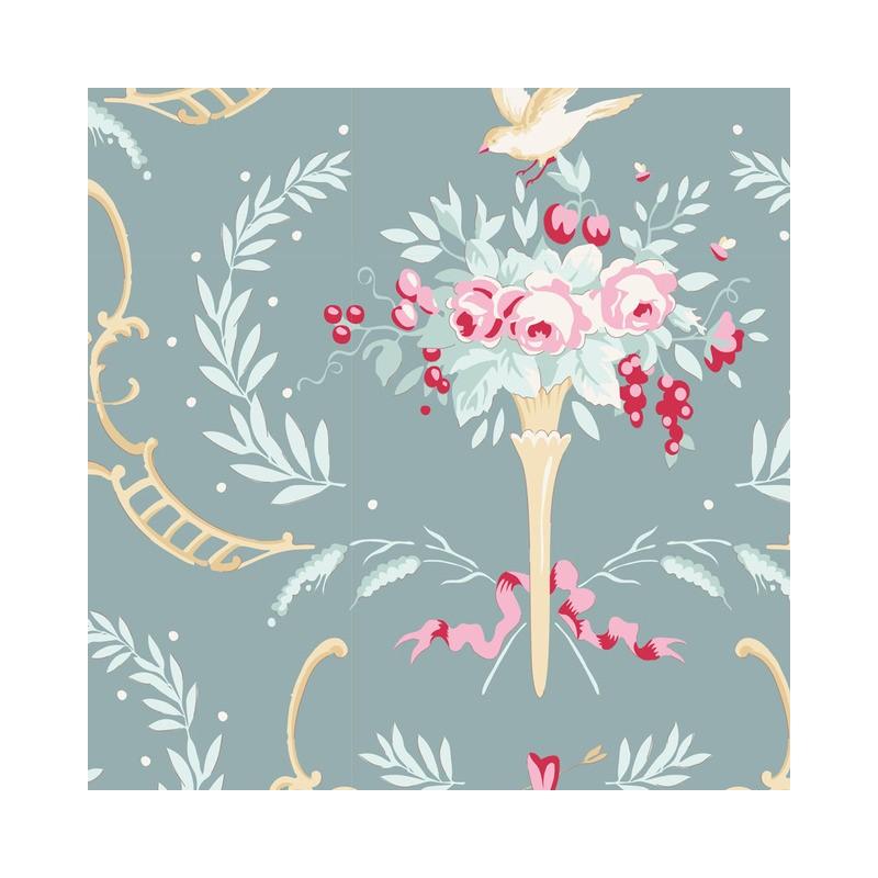 Birdsong Teal Green - coupon 50x55cm - tissu Tilda