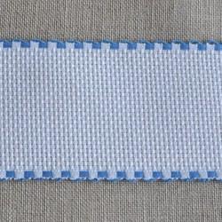 Galon aïda blanche 6 points/cm largeur 5,5cm bords bleus