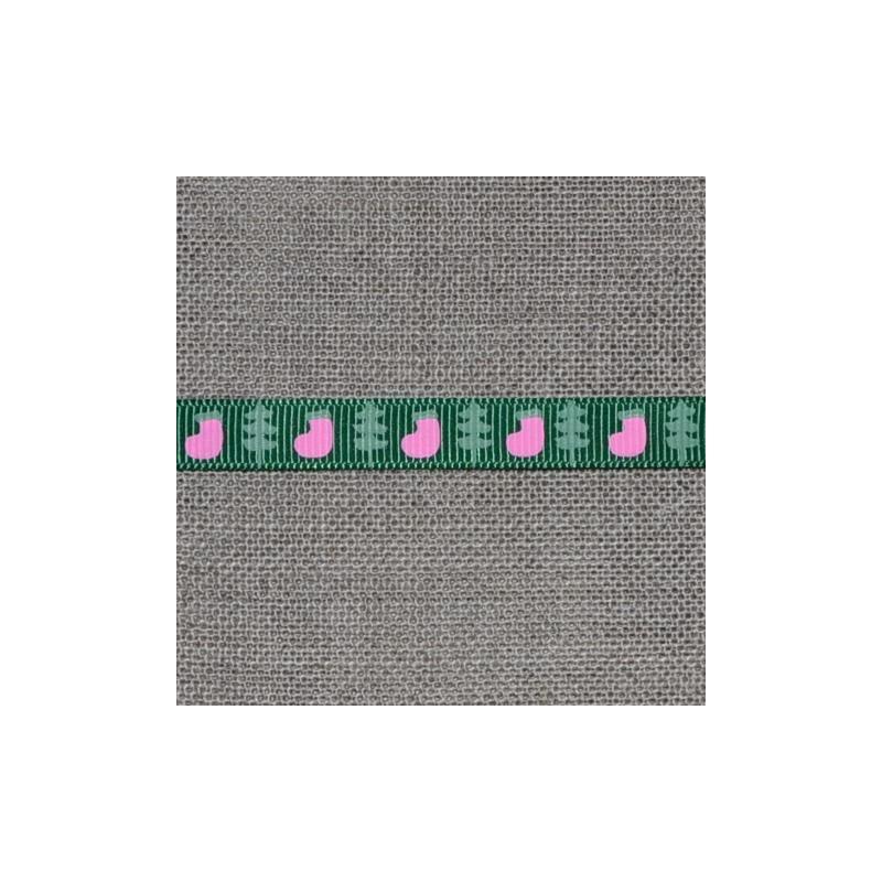 Ruban gros grain vert foncé motif sapins et chaussettes de Noël