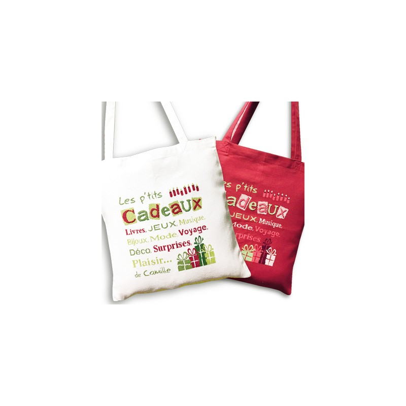 Sac à cadeaux - Lilipoints - Pack complet sac aïda 8 pts/cm blanc