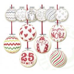 Les boules de Noël 3 - Lilipoints - semi-kit diagramme+toile