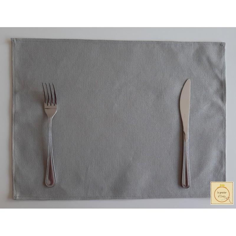 Set de table à broder - uni gris