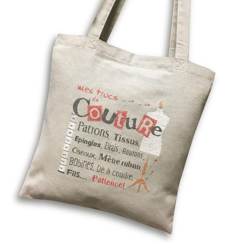 Sac de couture - Lilipoints - Semi-kit diagramme + sac Aïda 8pts/cm gris