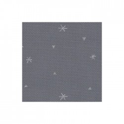 Aïda Zweigart 8pts/cm - largeur 110cm - gris à étoiles argentées