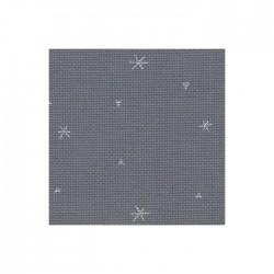 Toile Aïda Zweigart 8fils/cm - largeur 110cm - gris à étoiles argentées