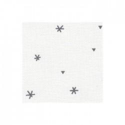 Toile Aïda Zweigart 8pts/cm - largeur 110cm - blanc à étoiles grises