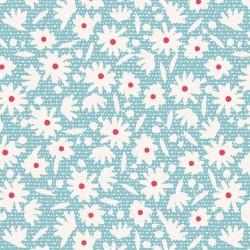 Paperflower Teal - au mètre - laize 110cm - tissu Tilda