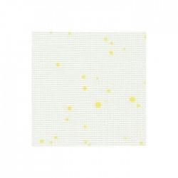 Toile Aïda Zweigart 7pts/cm - largeur 110cm - blanc à tâches jaunes