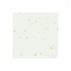Toile Aïda Zweigart 7pts/cm - largeur 110cm - blanc à tâches vertes
