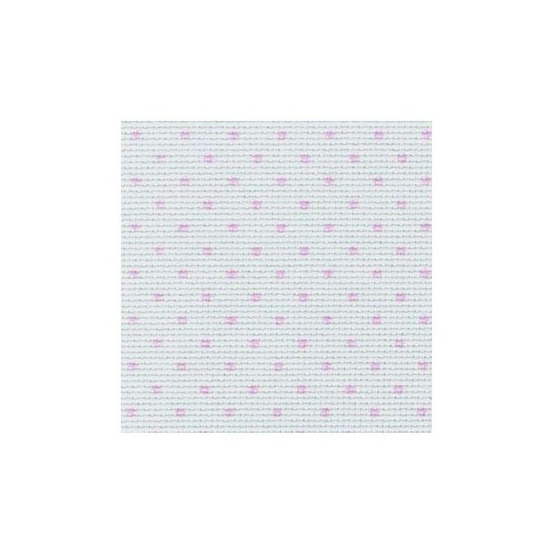 Aïda Zweigart 5,4pts/cm - 50x55cm - blanc à pois roses