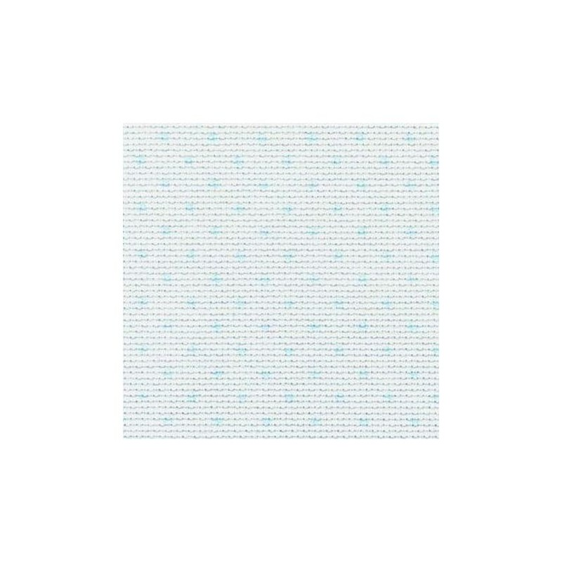 Aïda Zweigart 5,4pts/cm - 50x55cm - blanc à pois bleus