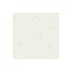 Toile Murano Zweigart 12,6fils/cm - laize 140 cm - blanc à tâches roses