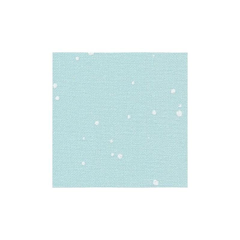 Toile Murano Zweigart 12,6fils/cm - largeur 140cm - bleu à taches blanches