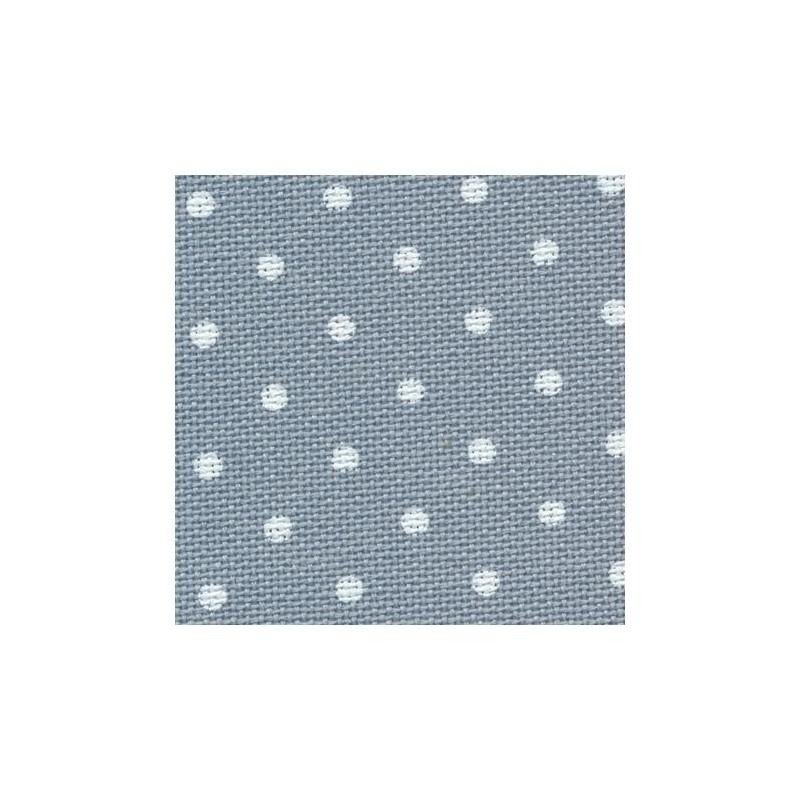 Toile Murano Zweigart 12,6fils/cm - largeur 140cm - bleu à petits points blancs