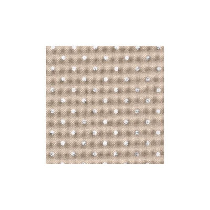 Toile Murano Zweigart 12,6fils/cm - largeur 140cm - beige à petits points blancs