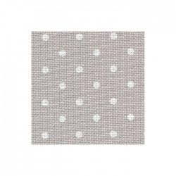Toile Murano Zweigart 12,6fils/cm - largeur 140cm - gris à petits points blancs