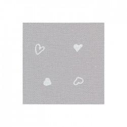 Toile Murano Zweigart 12,6fils/cm - largeur 140cm - gris à coeurs blancs