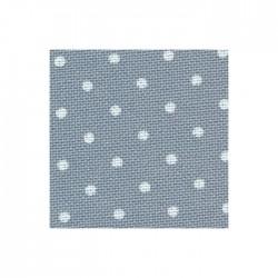 Toile Murano Zweigart 12,6fils/cm 50x70cm - bleu à petits points blancs