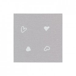 Toile Murano Zweigart 12,6fils/cm 50x70cm - gris à coeurs blancs