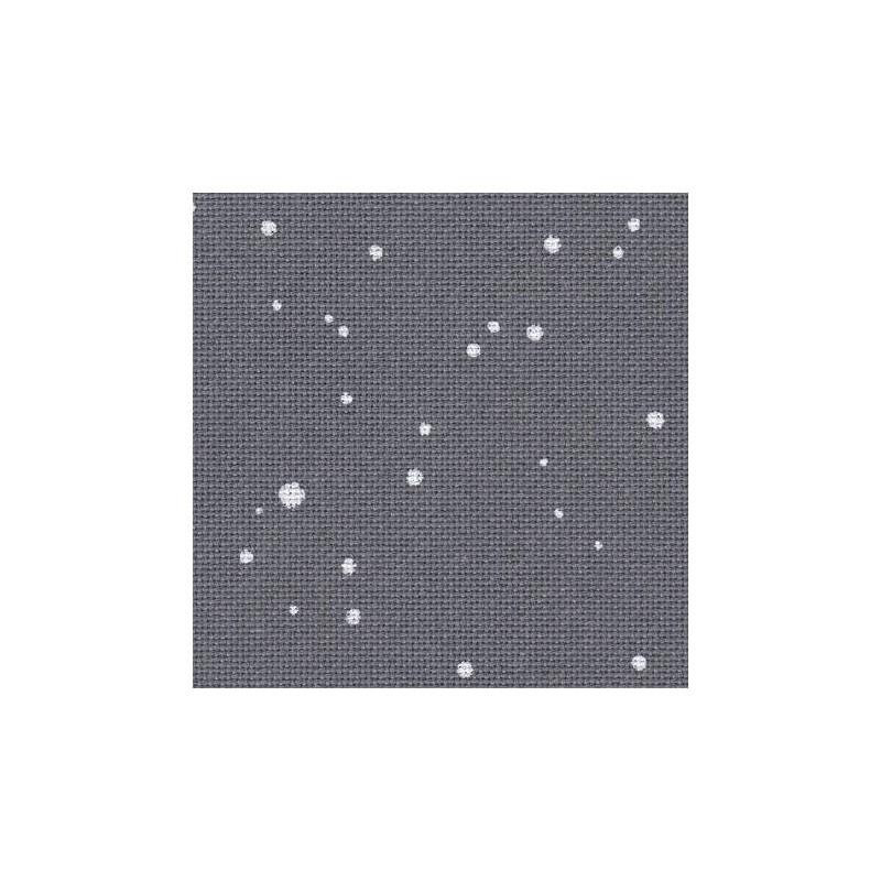 Toile Lugana Zweigart 10fils/cm - 35x45cm - gris anthracite à taches blanches
