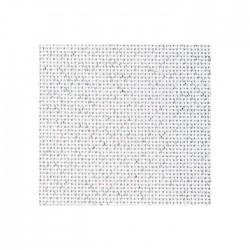 Toile Bellana Zweigart 8fils/cm - largeur 140cm - blanc pailleté argenté