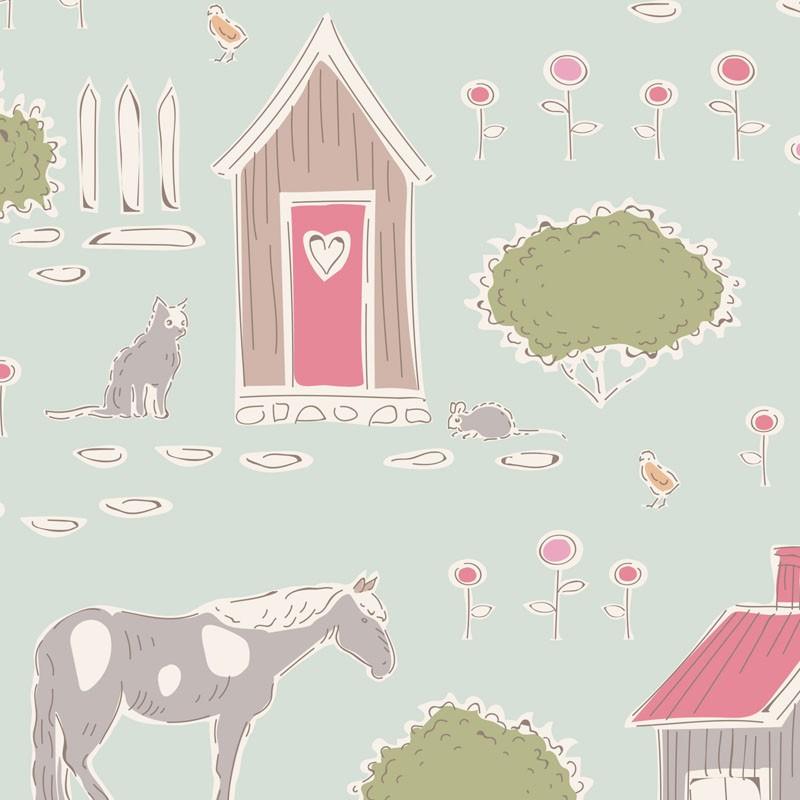 Tiny Farm Mist - coupon 50x55cm - tissu Tilda