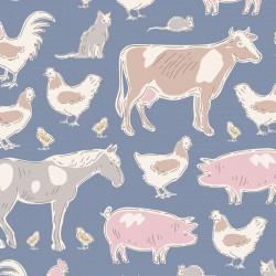 Farm Animals Blue - au mètre - laize 110cm - tissu Tilda