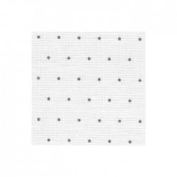 Lin Zweigart Edinburgh 14fils/cm - largeur 140cm - blanc à mini points gris