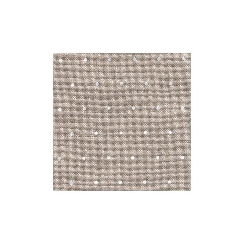 Lin Zweigart Edinburgh 14fils/cm - 50x70cm - lin naturel à mini points blancs