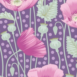 Poppies Lilac - coupon 50x110cm - tissu Tilda