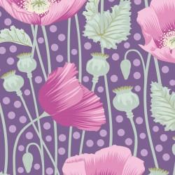 Poppies Lilac - au mètre - laize 110cm - tissu Tilda