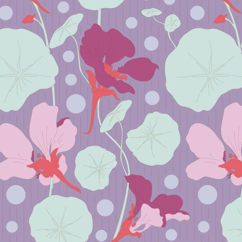 Nasturtium Lavender - coupon 50x110cm - tissu Tilda